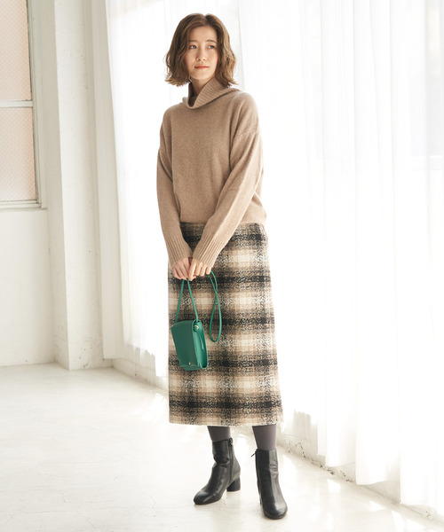 【WEB限定カラー:ベージュ】BIGチェックアイラインロングスカート