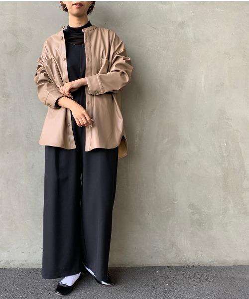 [JEANS FACTORY] [Jeans Factory Clothes/ジーンズファクトリークローズ] エコレザーバンドカラービッグCPOシャツ/ノーカラー/フェイクレザー