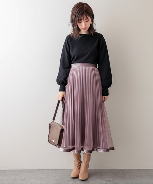 裾ベロアパイピングチュールプリーツスカート