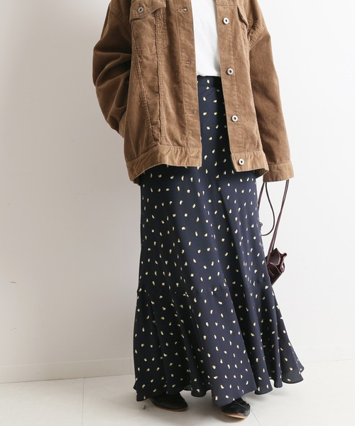 ランダムドットマーメイドスカート【手洗い可能/ウエストゴム】◆