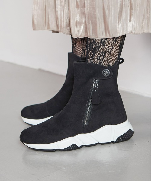coca / コカ 厚底 ボリュームソール 内側ボア 本革 スエード スニーカー ショートブーツ