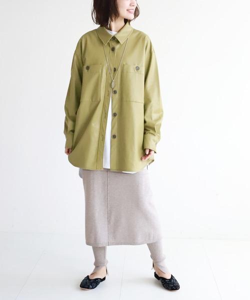 [IENA] SLOBE citron. フェイクレザーオーバーシャツ【手洗い可能】◆