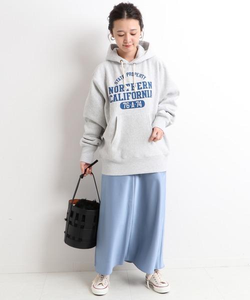 IENA] サテンフレアミモレスカート【手洗い可能】