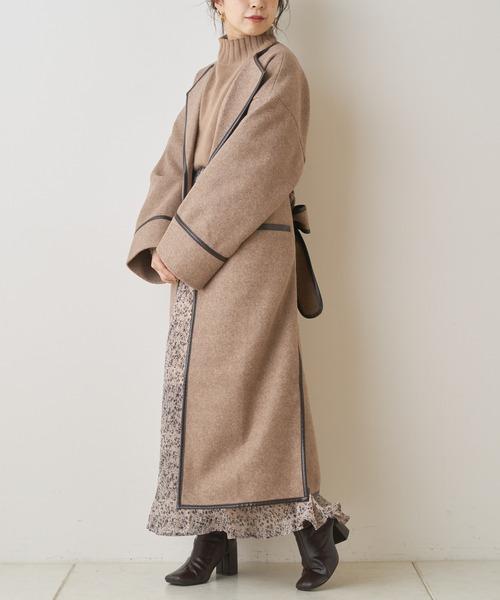 ノーカラーロングパイピングコート