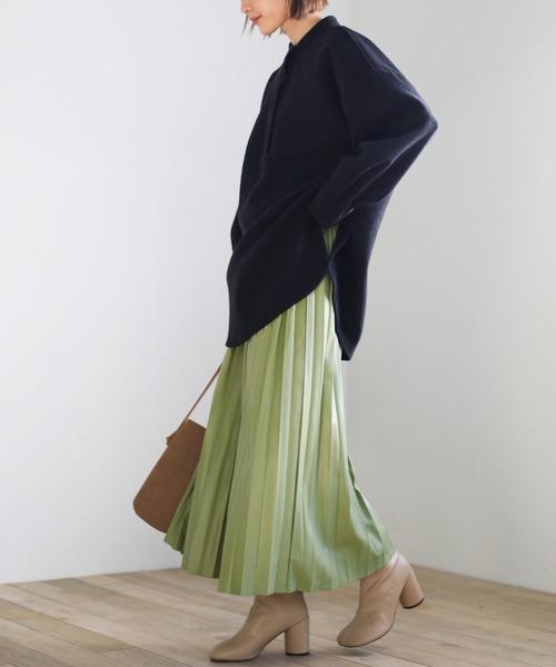 2020 A/W フェイクレザープリーツロングスカート/ウエストゴムエコレザースカート