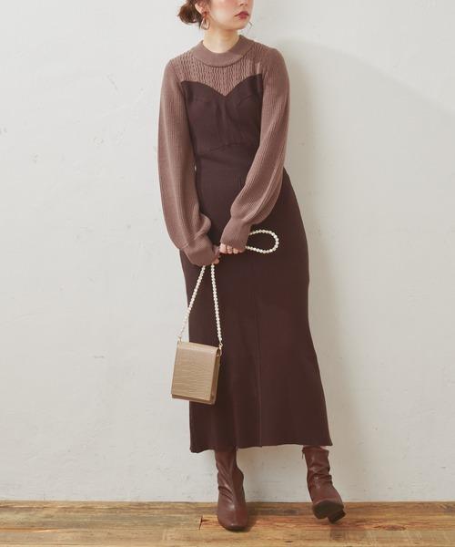 [natural couture] 【WEB限定】いろいろ編み地重ね着風ニットワンピース