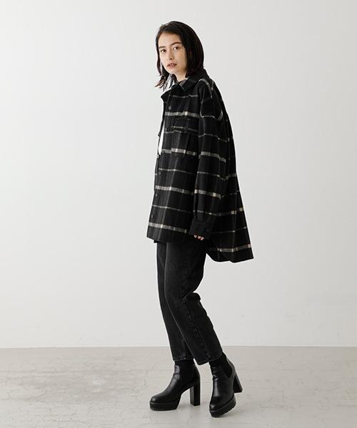 [AZUL BY MOUSSY] BIG POCKET SHAGGY CHECK SHIRT/ビッグポケットシャギーチェックシャツ