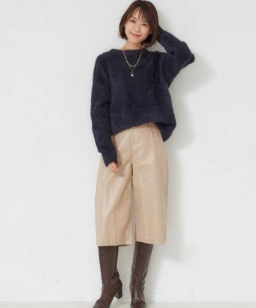 [MEW'S REFINED CLOTHES] エコレザーガウチョパンツ