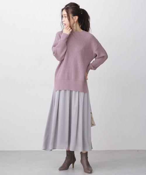 WEB限定/ボリュームニット&サテンスカートセット