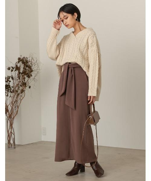 [Re:EDIT] [低身長向け/高身長向けサイズ対応]マシュマロカットウエストリボンタイトスカート