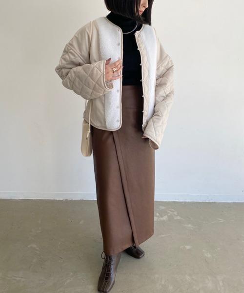 茶色スカートコーデ20