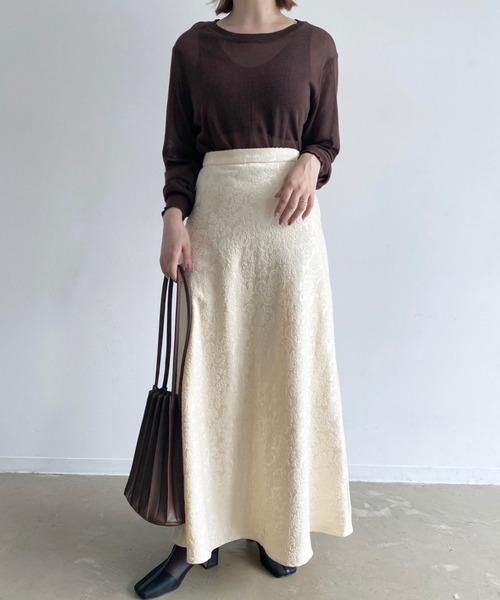 フレアジャガードオリエンタルロングスカート/マーメイドスカート