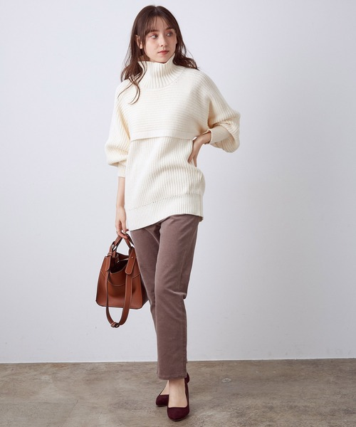 [ViS] 綿アクリル畦編みアンサンブル