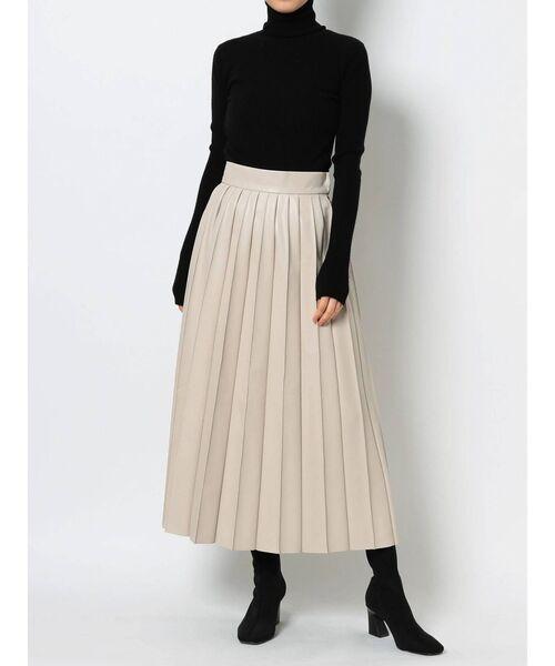 [LAGUNAMOON] フェイクレザープリーツスカート