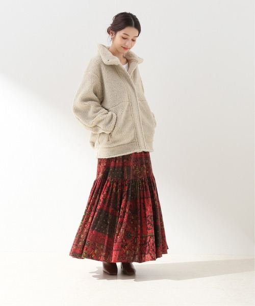 [Spick & Span] ベロアパッチワークプリントスカート◆