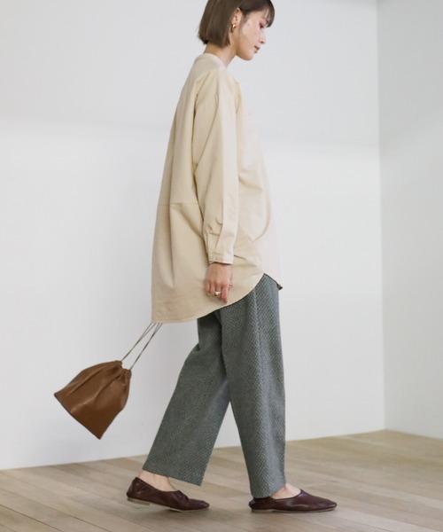 [select MOCA] 2020 A/W ダブルポケットノーカラ―シャツ/コットンシンプルオーバーサイズシャツ