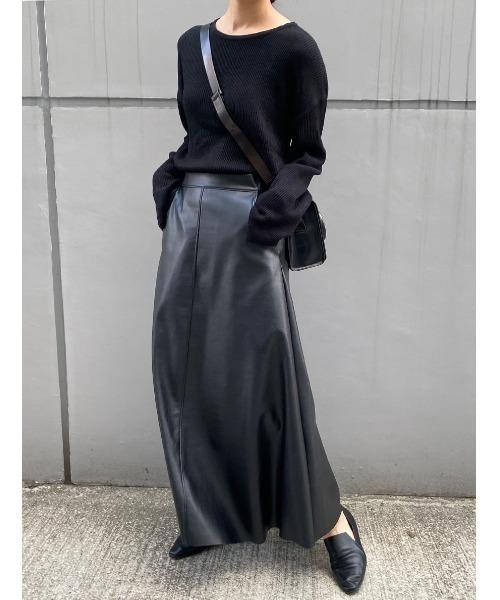 [ISOOK] ECO LEATHER MAXI SK / エコレザーマキシスカート