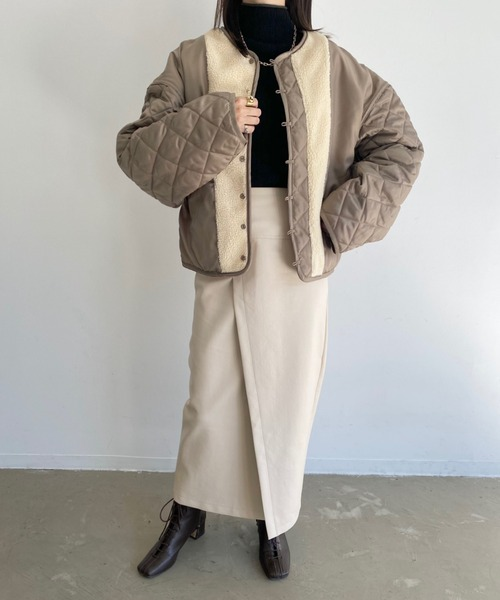 [Auntie Rosa] 【2021/冬春先行予約】【数量限定!】リバーシブル2wayキルティングボアブルゾンジャケットコート