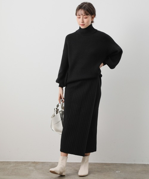 【WEB限定】【セットアップ対応】シルエットスッキリロングニットスカート