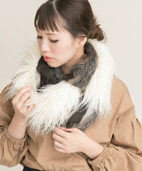 [URBAN RESEARCH OUTLET] mix fur snood∴