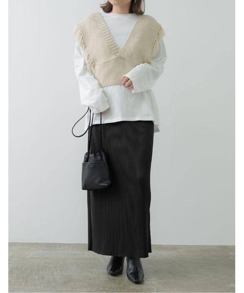 コーデュロイ風プリーツIラインスカート