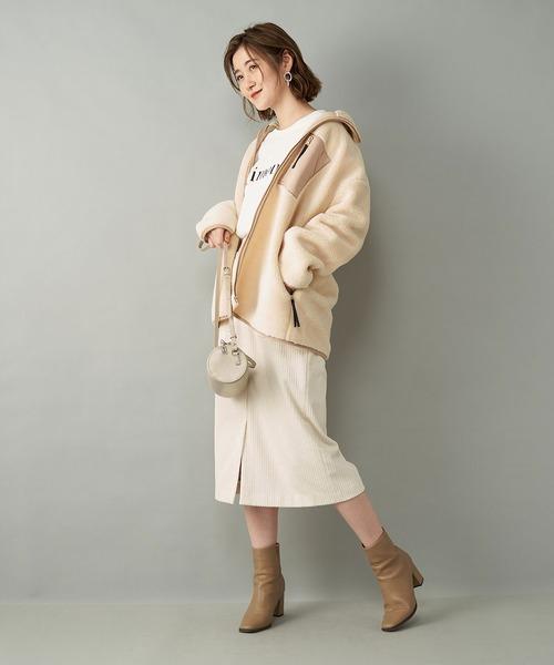 柔らかく暖かみのある一枚 ランダムコールスカート (タイト)