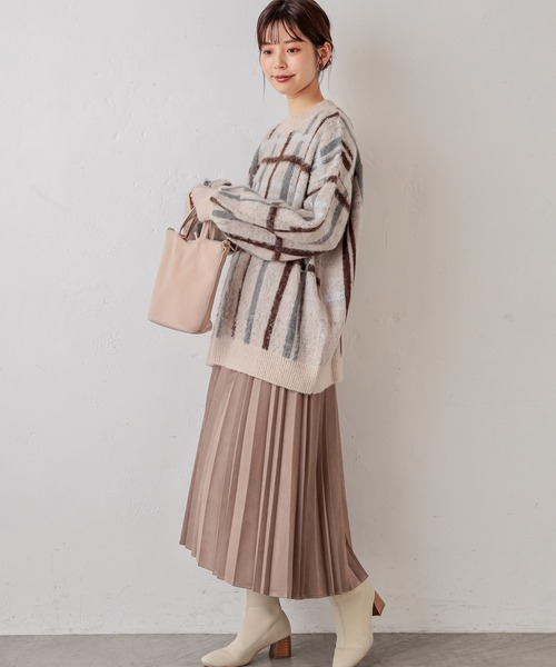 [natural couture] ポンチスエードプリーツスカート