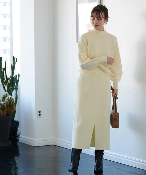 [ViS] 【セットアップ対応】フロントワイドリブニットスカート