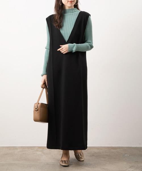 【WEB限定FSサイズ】【スフレタッチ】深Vピンタックジャンパースカート