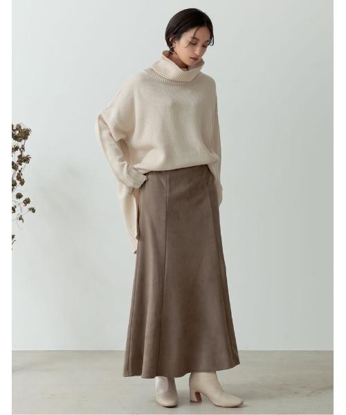 [Re:EDIT] [低身長向け/高身長向けサイズ有]ポンチスウェードストレッチナロースカート14