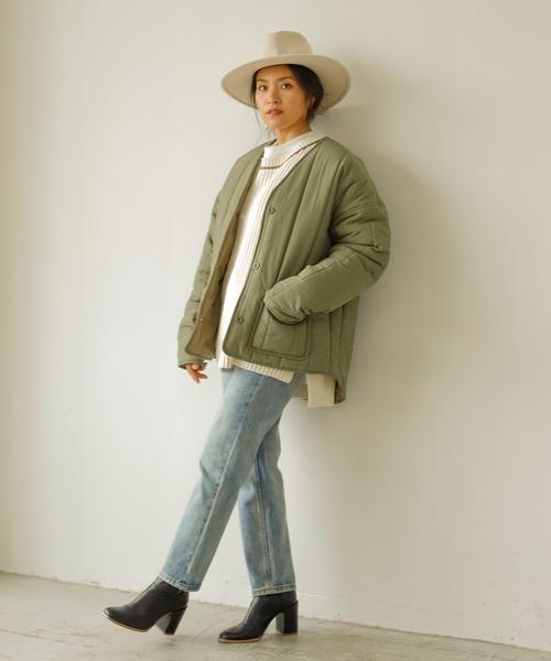 [Auntie Rosa] 【Holiday】キルティングノーカラージャケット