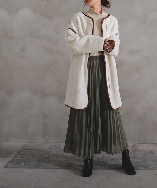 [Fashion Letter] レザーパイピングノーカラーロングボアコート ジャケット ブルゾン 20AW