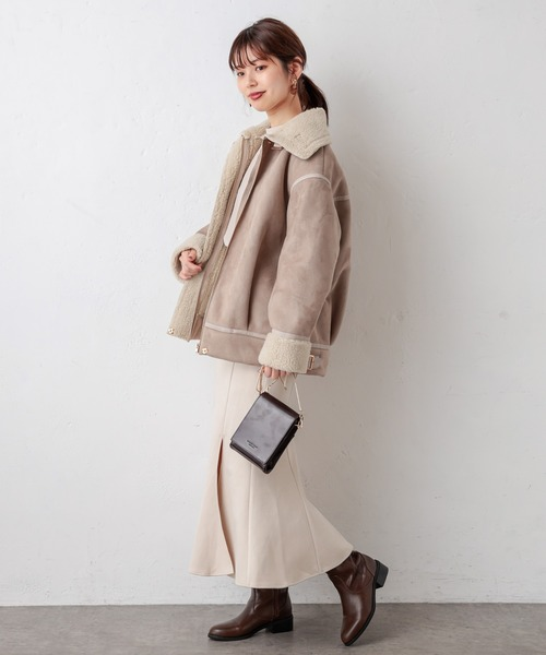 [natural couture] スエード×ボアフライトジャケット