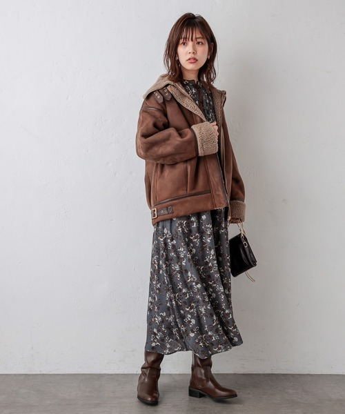 natural couture スエード×ボアフライトジャケット