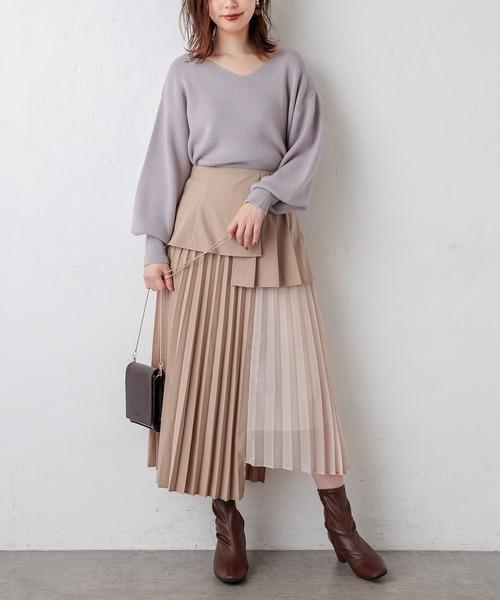 【WEB限定】プリーツ異素材切替スカート