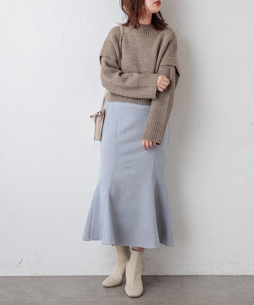 ボタンデザインポンチスエードマーメイドスカート