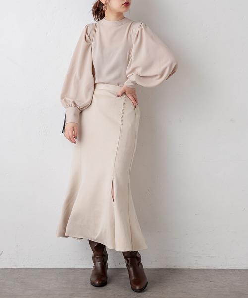 natural couture ボタンデザインポンチスエードマーメイドスカート