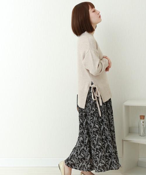 花柄ウエストフリルプリントスカート