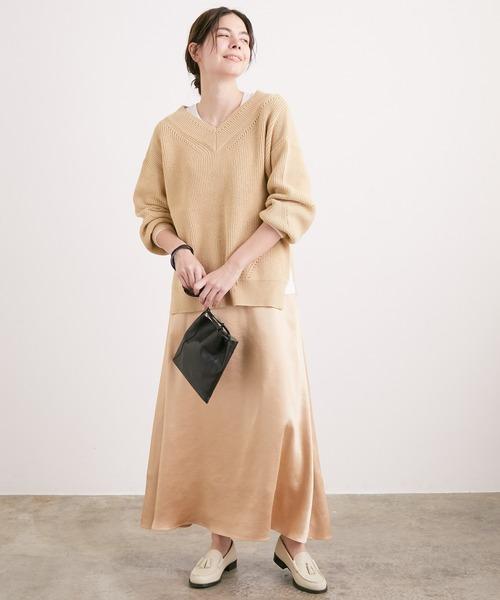 ADAM ET ROPE'] 春色サテンロングフレアースカート