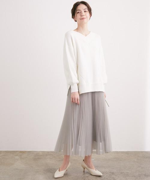 ADAM ET ROPE'] [WEB先行販売]【匠プリーツ】オーガンジー シアープリーツスカート