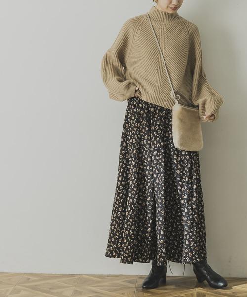 ロングフレアレオパードスカート
