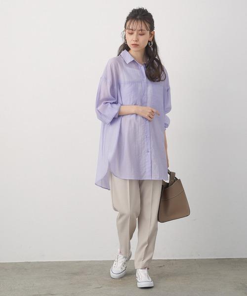 【WEB限定カラー,サイズあり】シアーロング丈シャツ