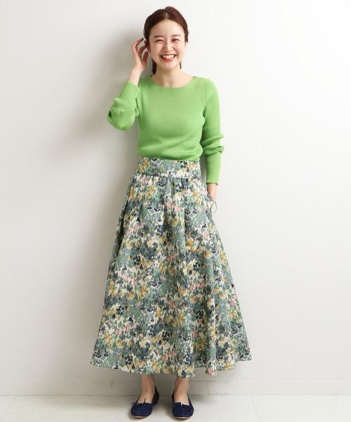 IENA かすれフラワー ギャザースカート