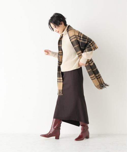 スーパー140s圧縮FINEウールスカート◆