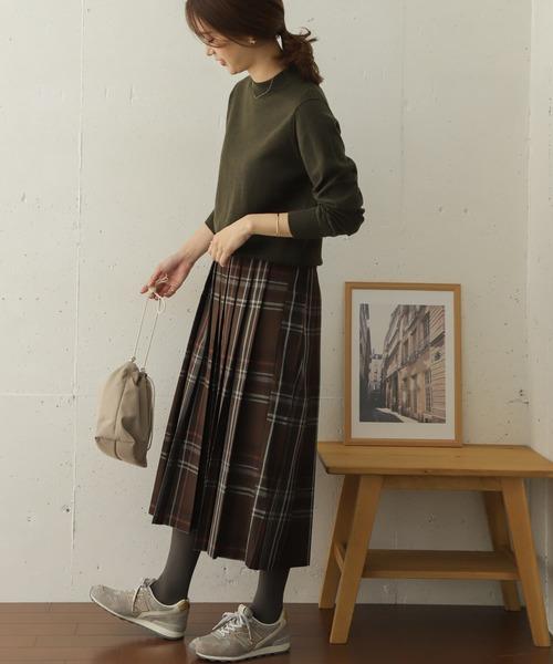 カラーチェックプリーツロングスカート