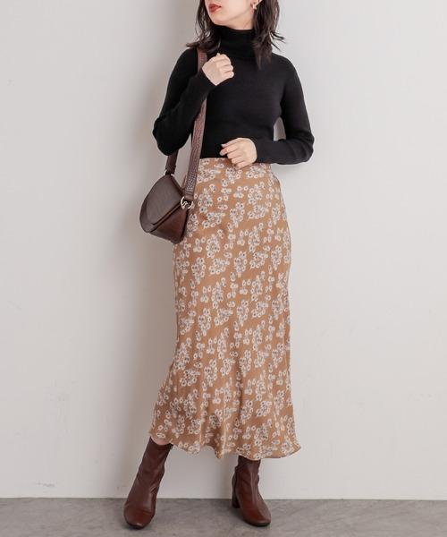 ややマーメイドシンプル花柄スカート