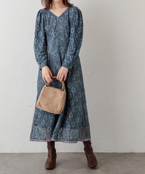 natural couture 裾パイピング大人レースワンピース