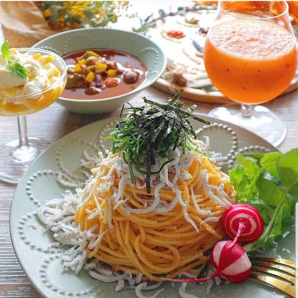 しらすは春が旬☆人気レシピの明太子パスタ