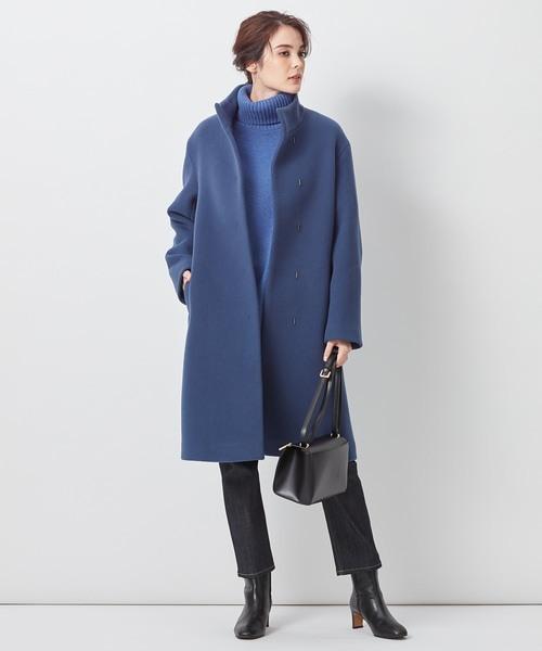[23区] 【中村アンさん着用】ダブルクロスベロアスタンドカラー コート(番号L29)