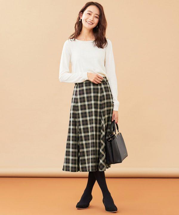 [ny SiS] 【洗える】フレアチェック/ツイード スカート